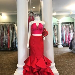 Rachel Allan 7571 Red/Fuchsia Couture Two Pc Prom